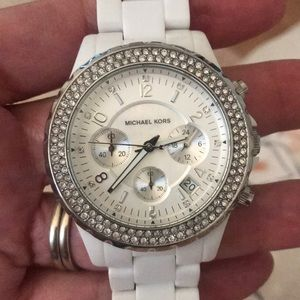 Michael Kors chronograph watch in white